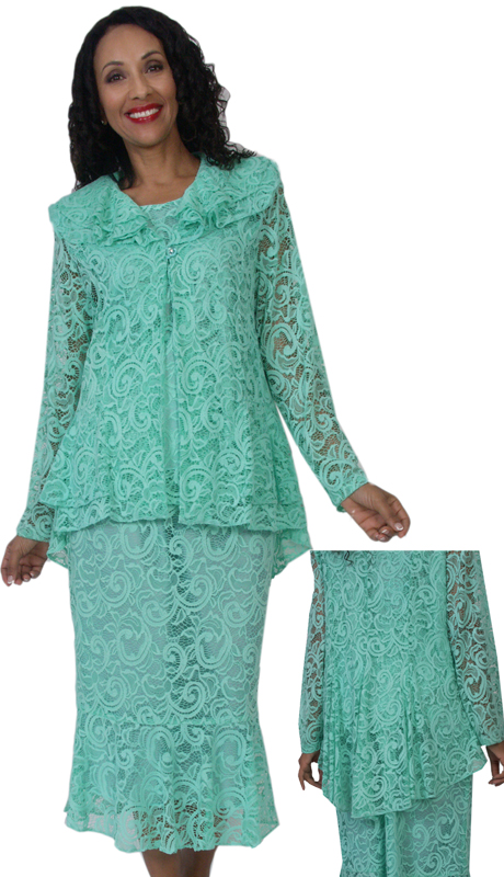 HD Couture 5130 ( 3pc Lace Suit With Elastic Waistband )
