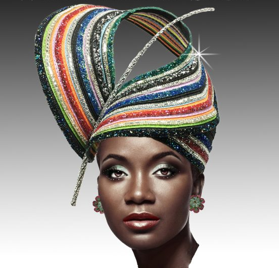 2628 RAINBOW-ML ( Sculptural Headpiece With Multi Jewel And Round Crown Bubble )