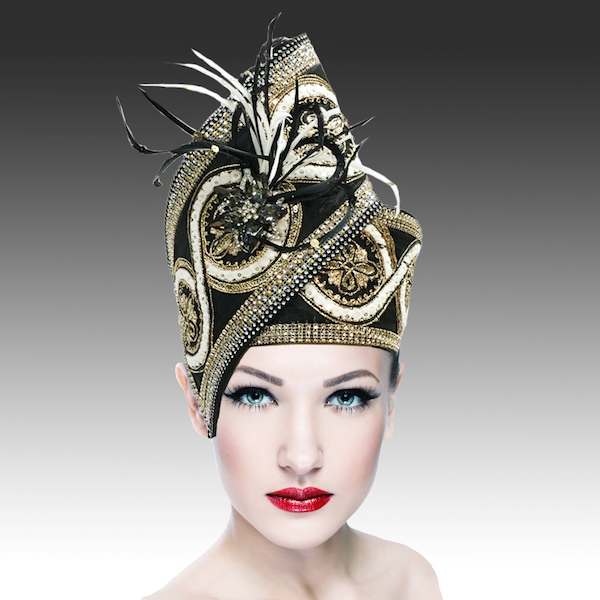 Agra Redux 1573X-IB ( Embellished Hand Crafted Pill Box Hat With Luxurious Embroidery, Beadwork And Hand Decorated Plumes )