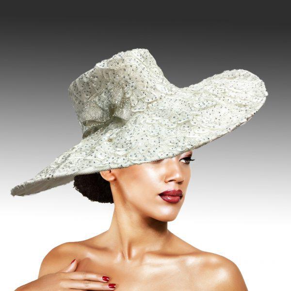 2316 Cardinal-WH ( Magnificent Lace Platter Brim Hat )