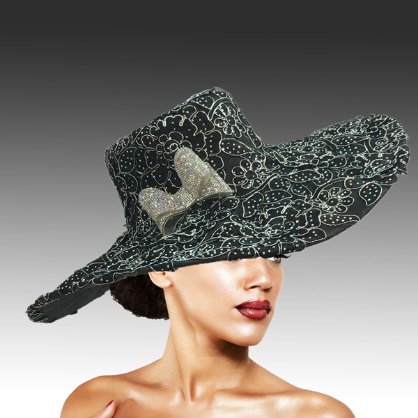 2316 Cardinal-BK-CO ( Magnificent Lace Platter Brim Hat )