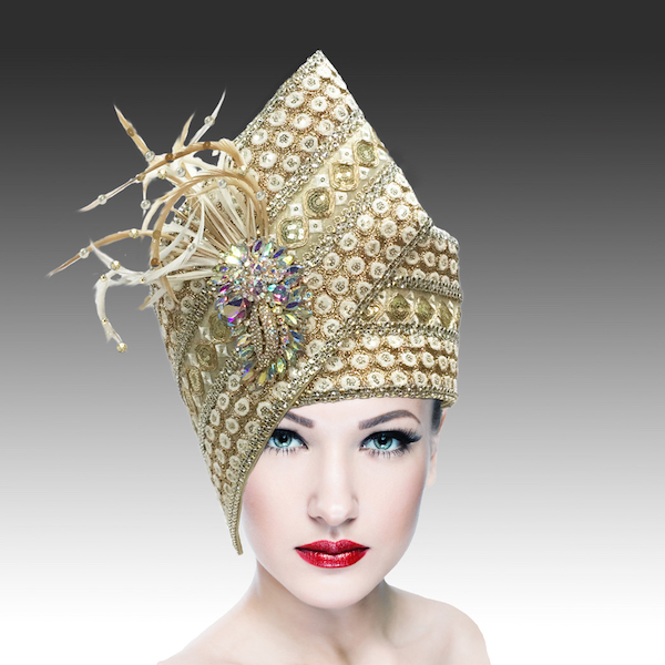 Agra Redux 1573X-WG ( Embellished Hand Crafted Pill Box Hat With Luxurious Embroidery, Beadwork And Hand Decorated Plumes )