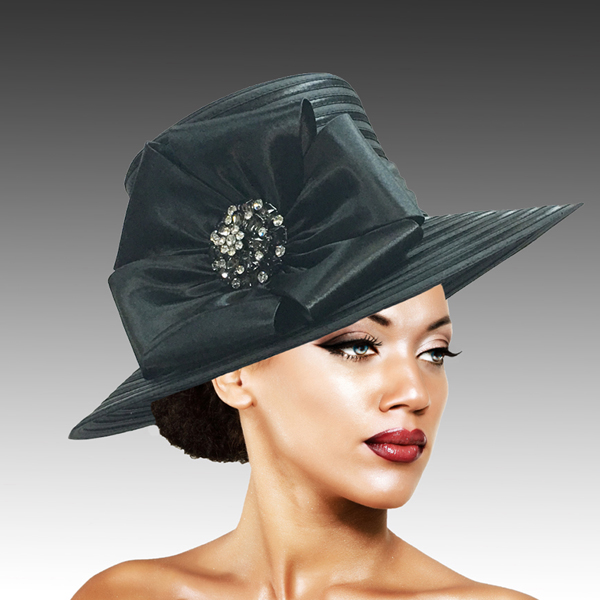 2309 Taylor-BK ( Large Picture Brim With Luxurious Bow And Brooch )