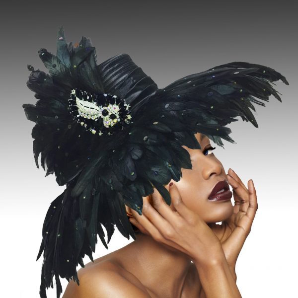 1757 Volcano-BK ( Large Brim Covered In Feathers  With Luxurious Brooch )