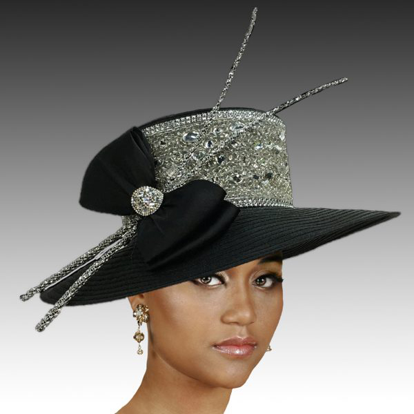 2306 Comet-BK ( Medium Brim With Crystal Encrusted Band And Quills )