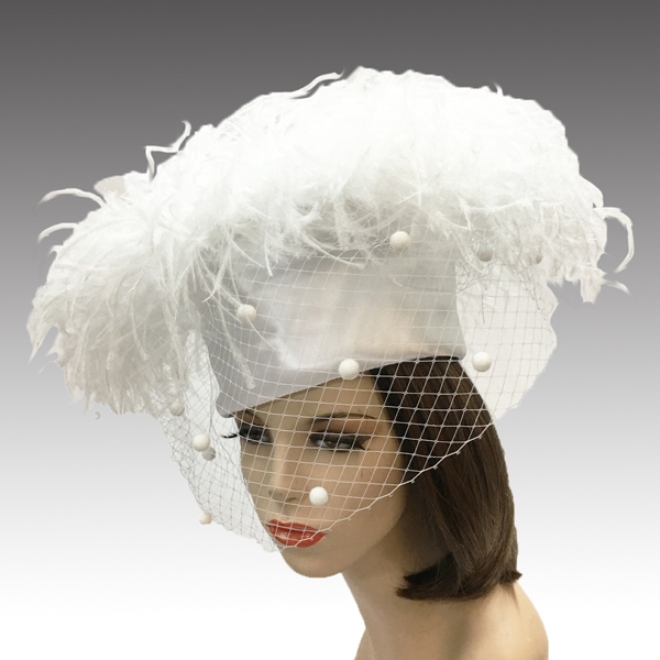 2304 Irma-WH ( Flirty Ostrich Pillbox With Coquettish Veil )