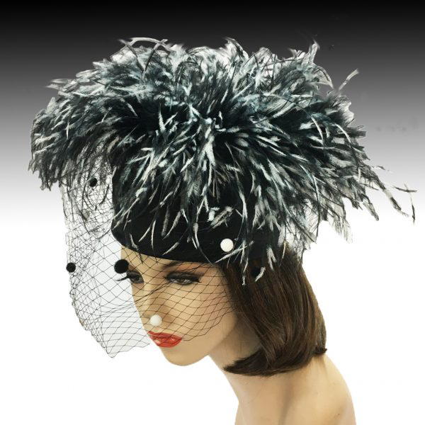 2304 Irma-BW ( Flirty Ostrich Pillbox With Coquettish Veil )