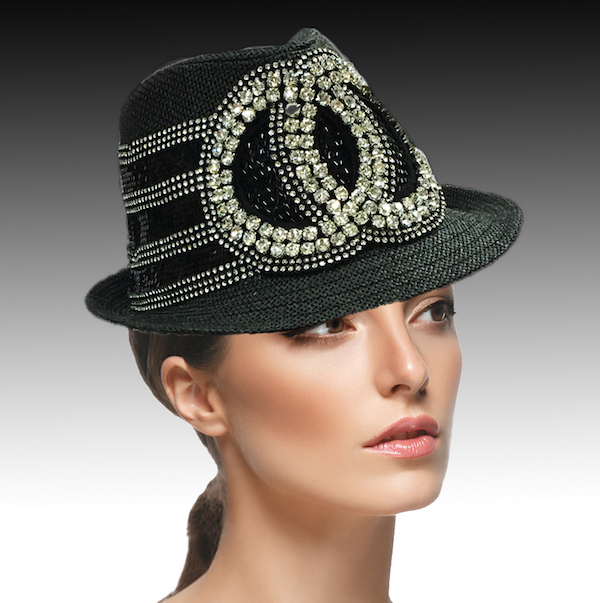 1897 Minnie-BK ( Fedora With Rhinestone Gemini Circles )