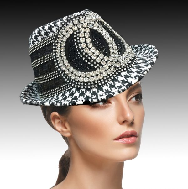 1897 Minnie-BW ( Fedora With Rhinestone Gemini Circles )