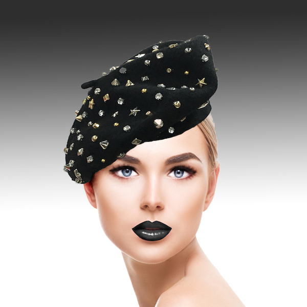 2129 Bistro Beret-BK ( Beret Sprnkled With Crystals And Studs )