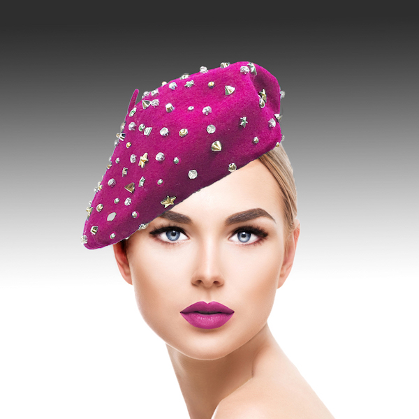 2129 Bistro Beret-FU ( Beret Sprnkled With Crystals And Studs )