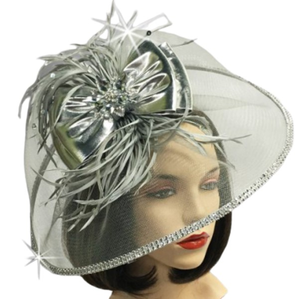 FA2509 BOSCH-SIL ( Illusion Fascinator With Feather Corsage )