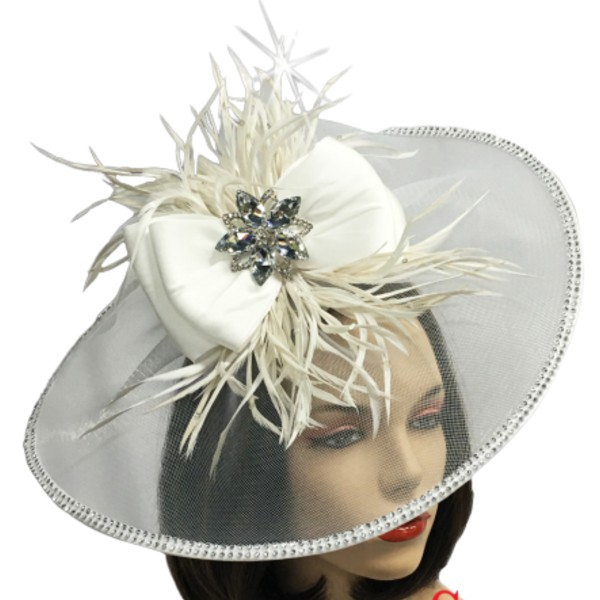 FA2509 BOSCH-W ( Illusion Fascinator With Feather Corsage )