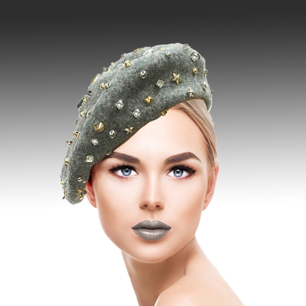 2129 Bistro Beret-GR ( Beret Sprnkled With Crystals And Studs )