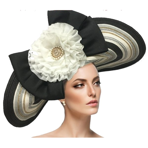 2627 OLEANDER-BW ( Multi Striped Napoleon Brim With Large Bow And Rosette )
