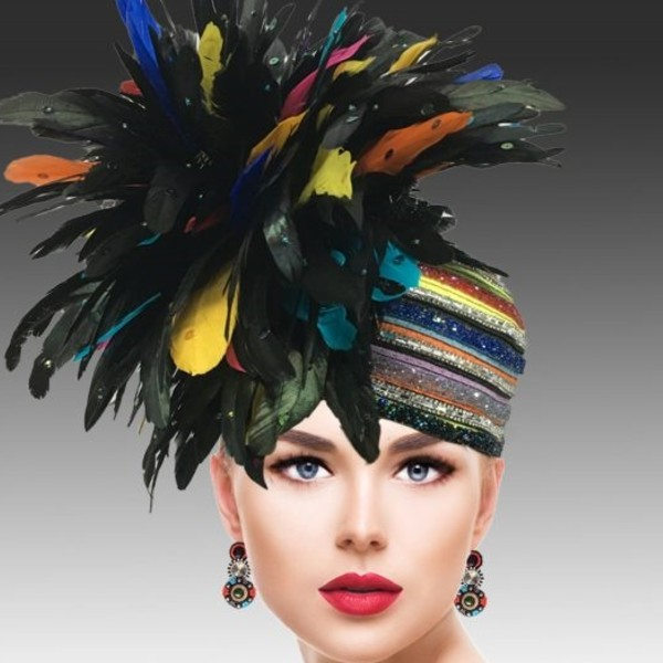 2629 TOUCAN-ML ( Adorned Hat With Multiple Rows Of Pave Stones, Crystals And Faux Jewels )