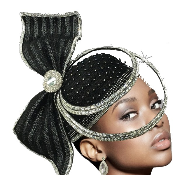 2635 ORBIT-BLK ( Sculptural Headpiece With Dramatic Crystal Ring Hat )