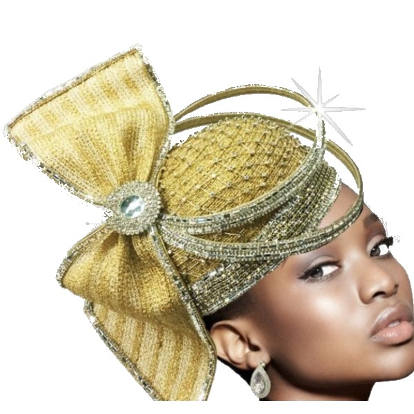 2635 ORBIT-G ( Sculptural Headpiece With Dramatic Crystal Ring Hat )