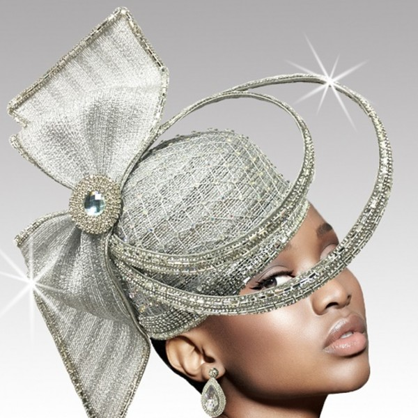 2635 ORBIT-SIL ( Sculptural Headpiece With Dramatic Crystal Ring Hat )