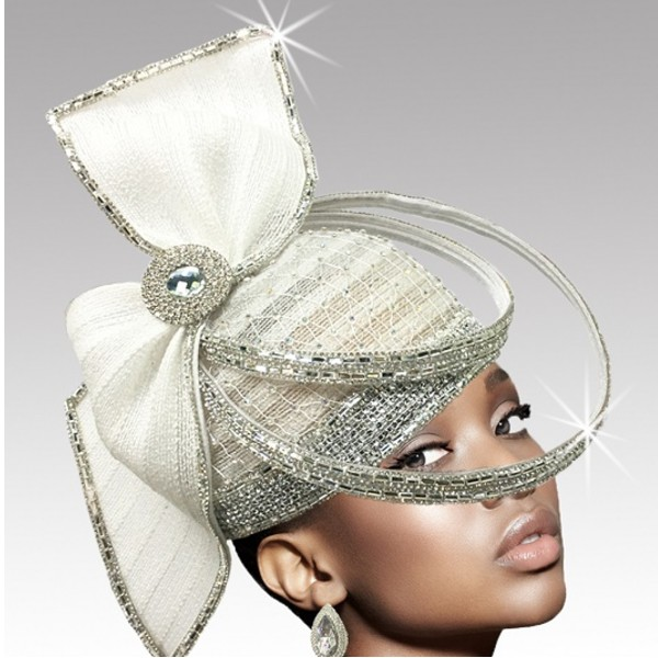 2635 ORBIT-W ( Sculptural Headpiece With Dramatic Crystal Ring Hat )