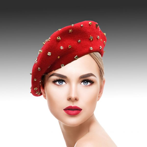2129 Bistro Beret-RE ( Beret Sprnkled With Crystals And Studs )