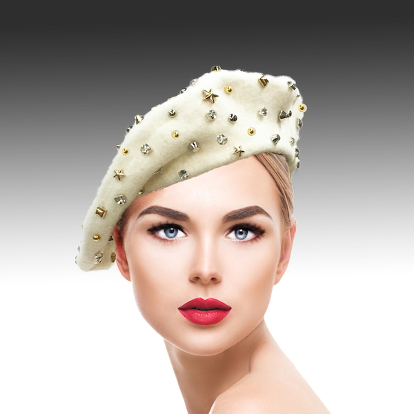 2129 Bistro Beret-WH ( Beret Sprnkled With Crystals And Studs )