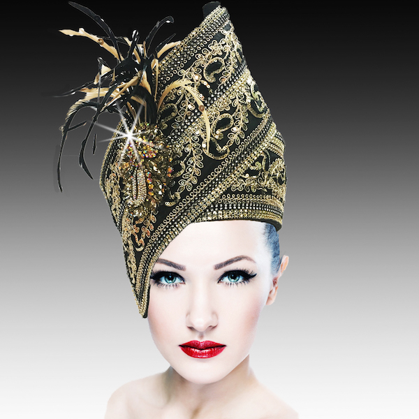 Agra Redux 1573X-BG ( Embellished Hand Crafted Pill Box Hat With Luxurious Embroidery, Beadwork And Hand Decorated Plumes )