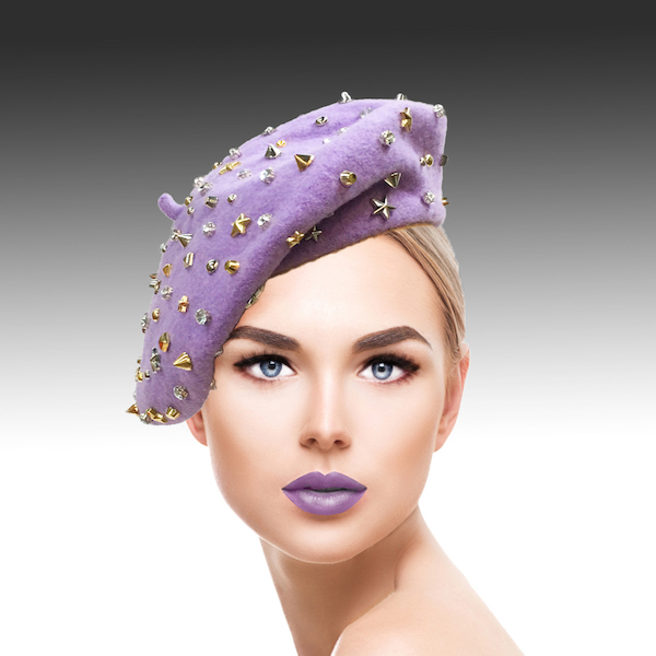 2129 Bistro Beret-WL ( Beret Sprnkled With Crystals And Studs )