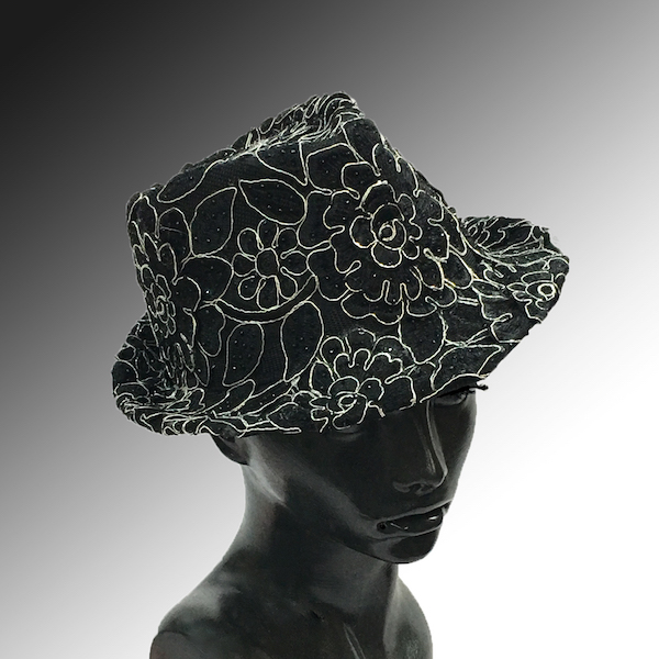 2139 Bestia-BK ( Small Fedora Covered In Embroidery )