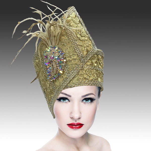 Agra Redux 1573X-GO ( Embellished Hand Crafted Pill Box Hat With Luxurious Embroidery, Beadwork And Hand Decorated Plumes )