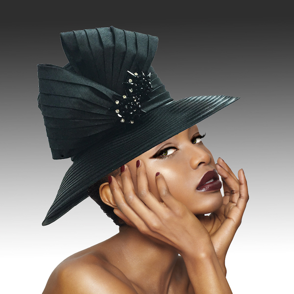 2146 Origami-BK ( Medium Brim Hat With Hand Beaded Crystal Starburst Appliques )