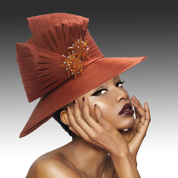 2146 Origami-BRK ( Medium Brim Hat With Hand Beaded Crystal Starburst Appliques )