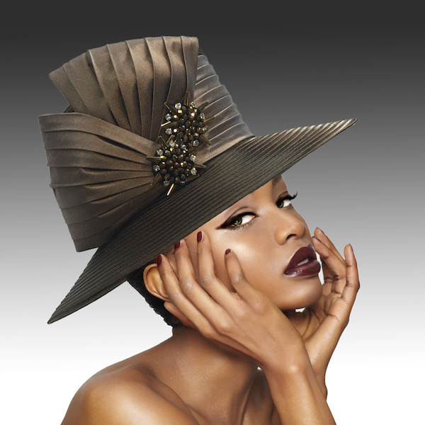 2146 Origami-CL ( Medium Brim Hat With Hand Beaded Crystal Starburst Appliques )