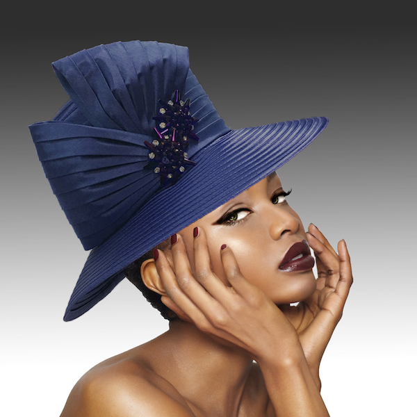 2146 Origami-NA ( Medium Brim Hat With Hand Beaded Crystal Starburst Appliques )