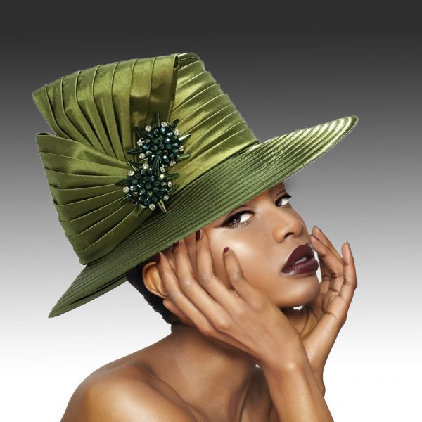 2146 Origami-OL-CO ( Medium Brim Hat With Hand Beaded Crystal Starburst Appliques )
