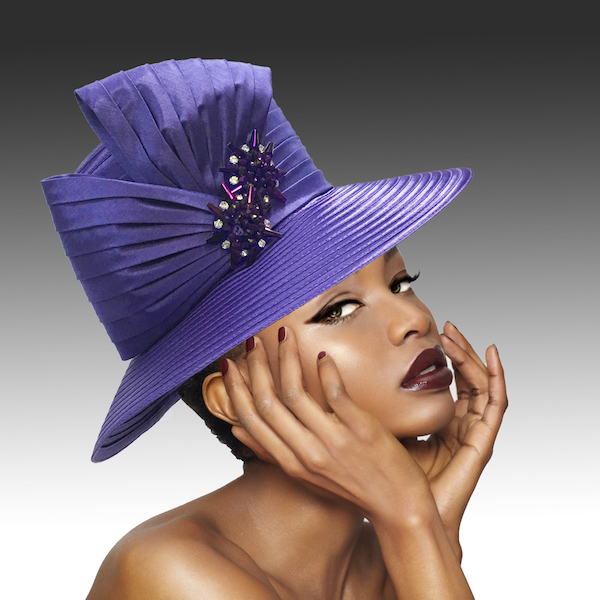 2146 Origami-PU ( Medium Brim Hat With Hand Beaded Crystal Starburst Appliques )
