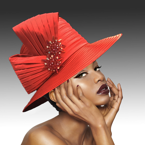 2146 Origami-RE ( Medium Brim Hat With Hand Beaded Crystal Starburst Appliques )