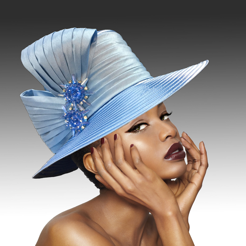 2146 Origami-SK ( Medium Brim Hat With Hand Beaded Crystal Starburst Appliques )