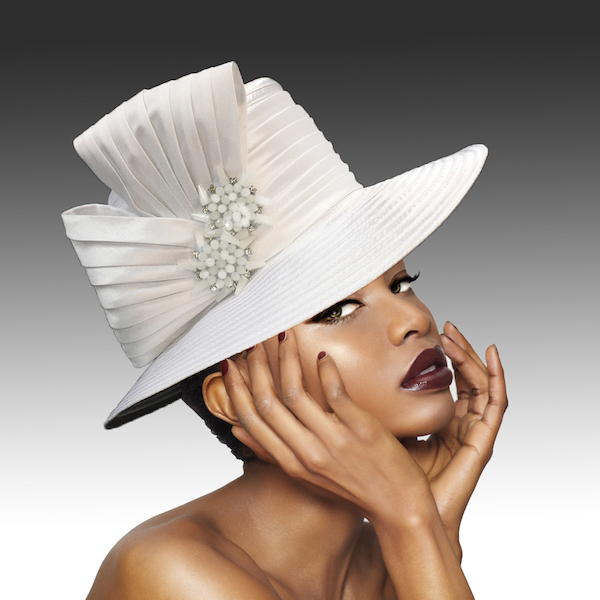 2146 Origami-WH ( Medium Brim Hat With Hand Beaded Crystal Starburst Appliques )
