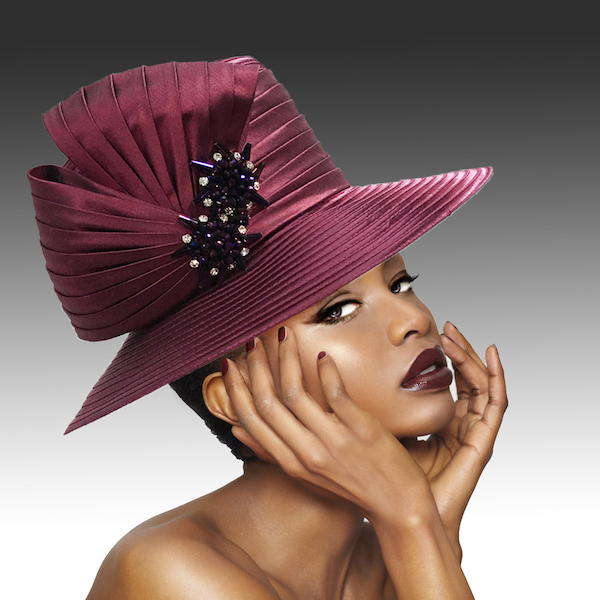 2146 Origami-WI ( Medium Brim Hat With Hand Beaded Crystal Starburst Appliques )
