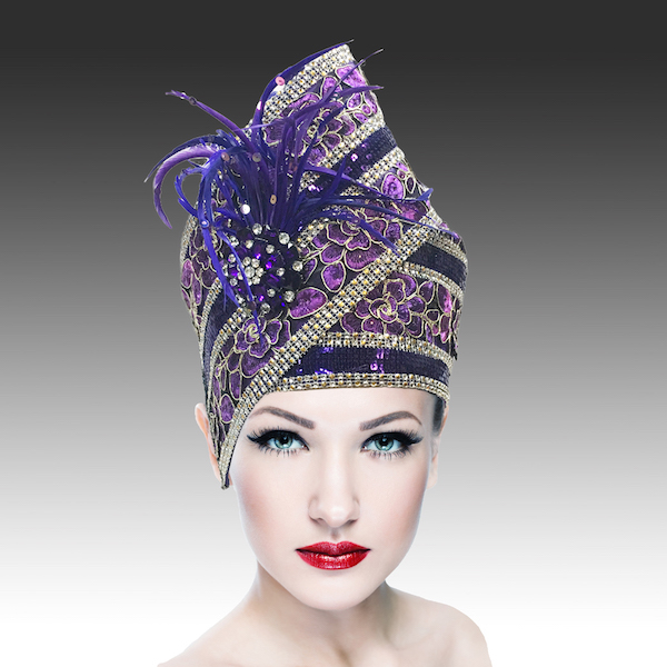 Agra Redux 1573X-PU ( Embellished Hand Crafted Pill Box Hat With Luxurious Embroidery, Beadwork And Hand Decorated Plumes )