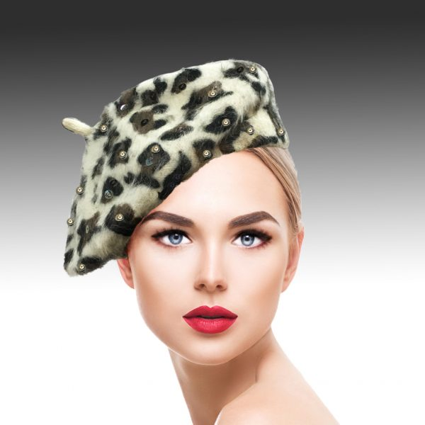 2155 Kitty-LP ( Luxurious Leopard Printed Mohair Beret )