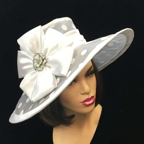 2126 Lola-WH ( Large Polka Dot Illusion Brim with Pinwheel Bow )