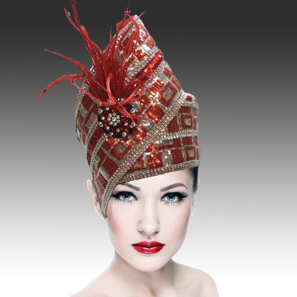 Agra Redux 1573X-RE ( Embellished Hand Crafted Pill Box Hat With Luxurious Embroidery, Beadwork And Hand Decorated Plumes )