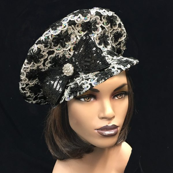 2246 Rita-BW ( Jazzy Sculpted Cap Enveloped In Sequins And Soutache )