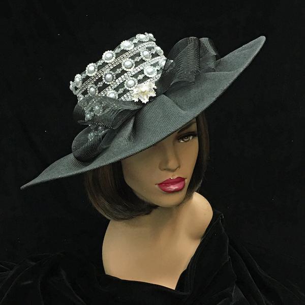 2251 Zola-BK ( Pearl Trimmed Derby Hat )
