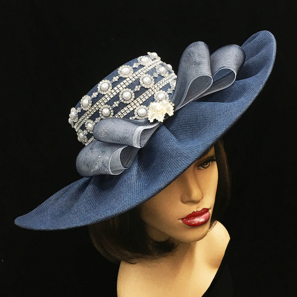 2251 Zola-NA ( Pearl Trimmed Derby Hat )