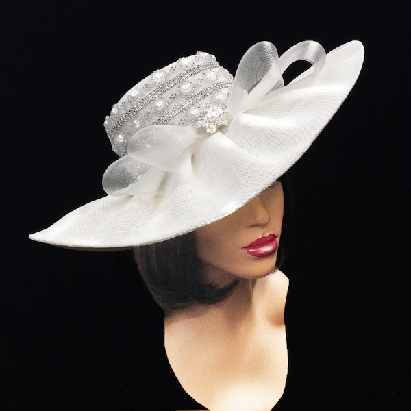 2251 Zola-WH ( Pearl Trimmed Derby Hat )