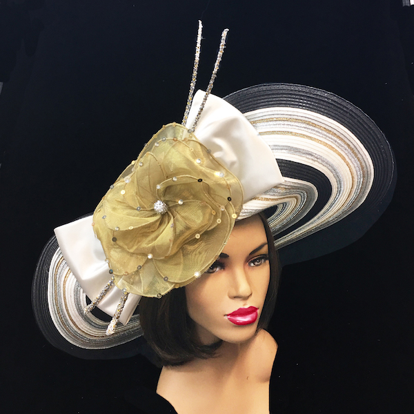 2252 Electra-BW ( Striped Deaville Brim Hat With Florettes And Jewel Quills )