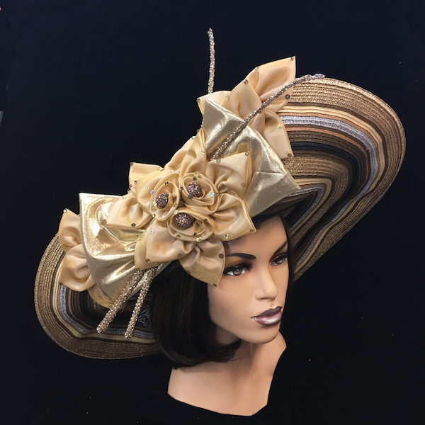 2252 Electra-EC ( Striped Deaville Brim Hat With Florettes And Jewel Quills )